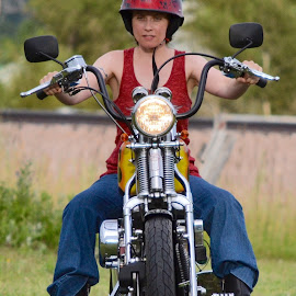 Easy Riding by David Westfall - Transportation Motorcycles ( two wheels, motorcycle and rider, motorcycle, motgorbike, woman and machine )