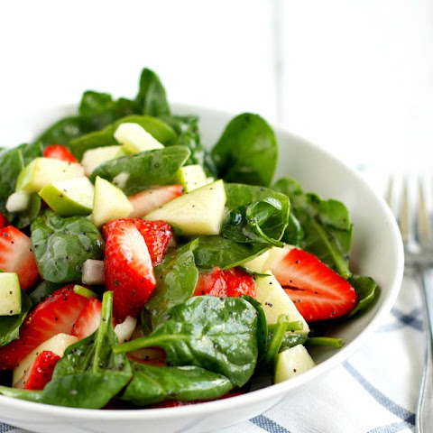 Spinach Strawberry Salad with Orange Poppy Seed Dressing.
