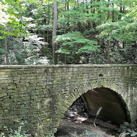 Old Stone Bridge @ Rosewood Park  by Troy Durst - Buildings & Architecture Bridges & Suspended Structures ( architecture., nature, brick, parks, forest, bridges, trails )