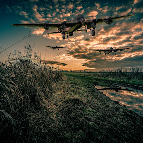 Three Come Home by Peter Rollings - Digital Art Things ( lincolnshire, reflection, wwii, aircraft, bomber, raf, lancaster, composite )