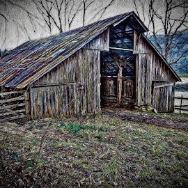 by Allen Crenshaw - Digital Art Places ( barn, digital art, photography by allen crenshaw, snow flakes, photography, impressionism, arkansas )