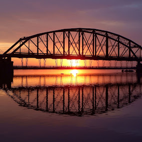 Reflections by Alison Gimpel - Landscapes Sunsets & Sunrises ( mirrored reflections, sunrises, reflections, lake superior, sunrise, duluth minnesota, rivers, bridges,  )