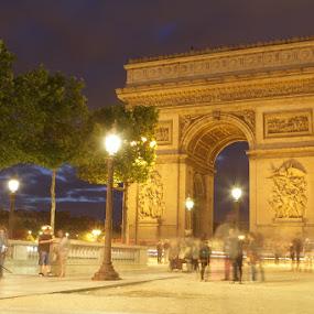Arc De Triomphe by night by Habashy Photography - City,  Street & Park  Street Scenes ( paris, arc )