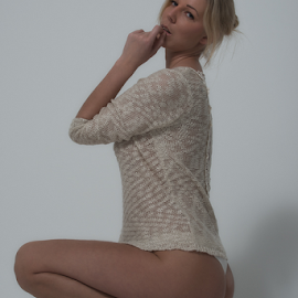 What shall I do? by Johannes Oehl - People Portraits of Women ( one woman only, person, martin-schultz scale, full length, fair skin, blonde hair, one female adult only, calf, thigh, upper leg, wrist, grownup, light blonde hair, people-photography, chignon, full-length, hand, young woman, sexy, crouching, grown up, young adult, woman, studio-photography, looking at camera, lower leg, light eyes, blue eyes, underarm, arm, 03 blue-gray iris, knee, blond hair, full body, finger to lips, white background, adult, one young woman only, 1 person, leg, lower arm, female, elbow, upper-arm, fashion-photography, 25-30 years, female hairstyle )