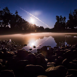 Moonrise at Ponto Falls by Peter Hutchison - City,  Street & Park  Night ( moon, reflection, waterscape, landscape, rocks, nightscape, moonrise )