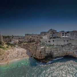 Polignano A Mare, Puglia Italy by Nigel Bowsher - City,  Street & Park  Vistas ( polignano, puglia, sea, beach, italy )