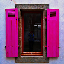Window by Dobrin Anca - Buildings & Architecture Architectural Detail ( window, blue, street, brittany, strawberry )