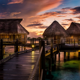 Mysty Memories by Rebecca Ramaley - Buildings & Architecture Office Buildings & Hotels ( clouds, bungalows, pearl beach, tahiti, sky, resort, tikehau, overwater, myst,  )