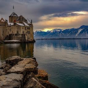 Château de Chillon by Arda Erlik - Buildings & Architecture Public & Historical ( sony, lake geneva, switzerland, montreux, château de chillon, sunrise )