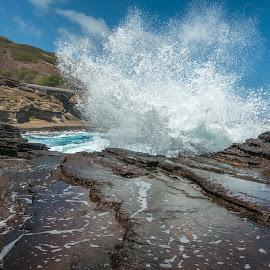 Crashing Waves by Kathy Suttles - Nature Up Close Water ( water, mid crash, waves, crashing, oahu )