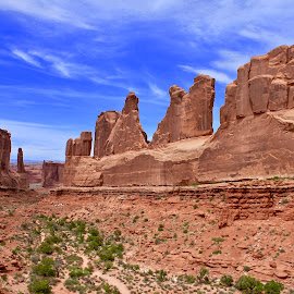 Walls to the Horizon by Darlene Dunnum - Landscapes Mountains & Hills ( clouds, sagebrush, national park, mountains, blue sky, desert, arches national park, rock formations, utah, red rock )