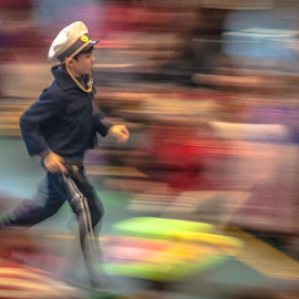 Little Police man! by Jesus Giraldo - Babies & Children Children Candids ( dynamic, child.fun, concept, moving, police, colors, art, party, run, boy )