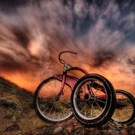 Orange Sky by Eric Demattos - Transportation Bicycles ( orange, tricycle, trike, eric demattos, sunset )
