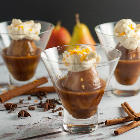 Mulled Cinnamon-Orange Pears with Mascarpone