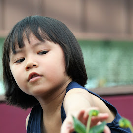 Touching the flower by Koh Chip Whye - Babies & Children Children Candids