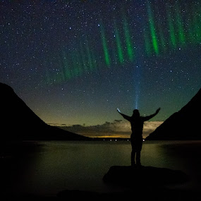 Crowning Moment  by Sondra Sarra - Landscapes Starscapes ( northern_lights, stars, aurora, lady, night, light,  )