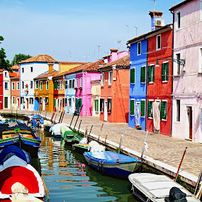Colorful Buildings Murano, Italy by JEFFREY LORBER - Buildings & Architecture Other Exteriors ( italian, exterior, buildinngs, lorberphoto, boats, murano, lorber, architecture, canal, italy,  )