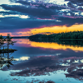 Midnight mirror Swedish Lapland  by Ewa Nilsson - Uncategorized All Uncategorized ( water, mirror, sweden, scandinaia, waterscape, lapland, reflecion, trees, forest )