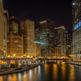 Along the Chicago by Jim Hamel - Buildings & Architecture Office Buildings & Hotels ( chicago skyline, illinois, chicago river, night, chicago )