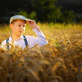 Golden boy  by Hurghis Vasile - Babies & Children Child Portraits ( lights, nature, still life, boy, people, golden, portrait )