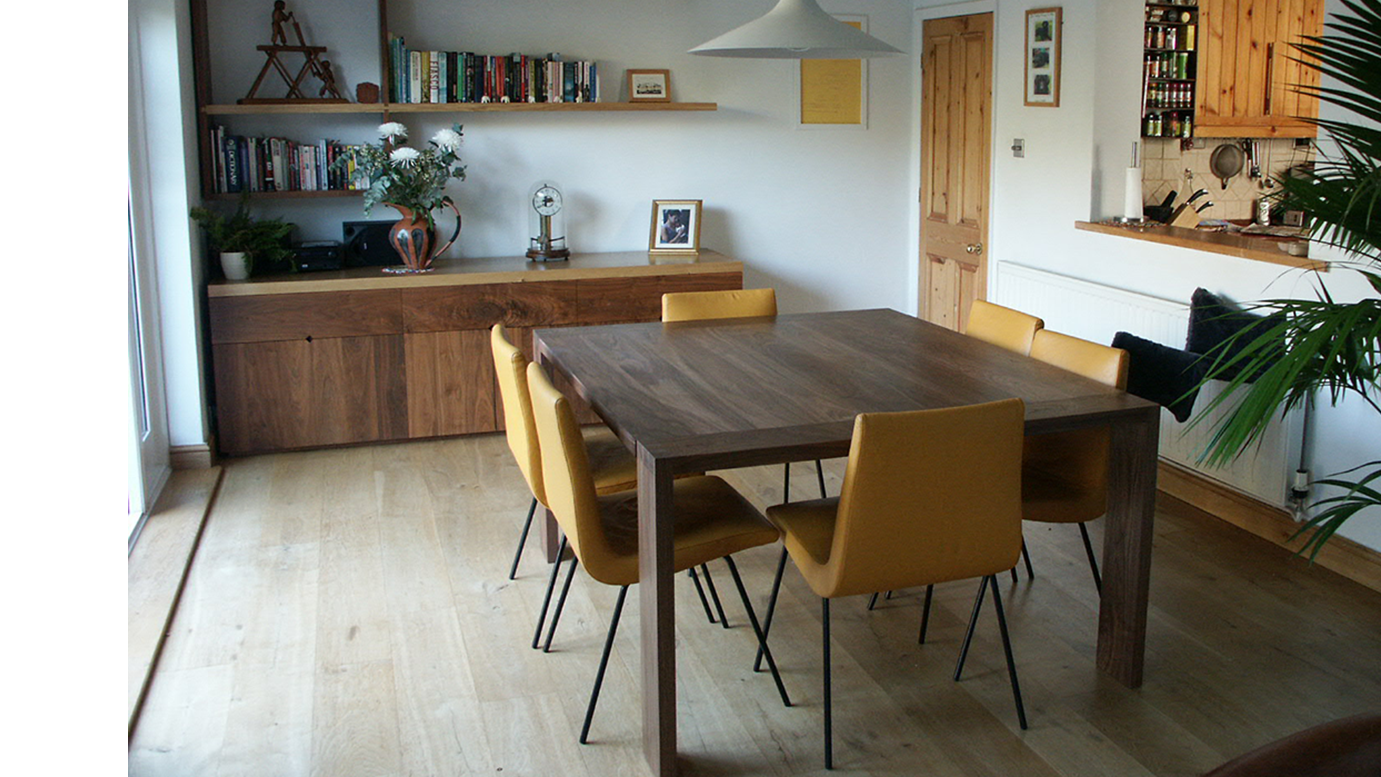 Dining Table and Offset Shelving - Dovetailed Oak and American BlackWalnut