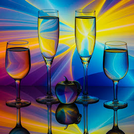 Summer of Love by Lisa Hendrix - Artistic Objects Glass ( colorful, color, apple, colors, inversions, artistic, glass, reflections, wine glasses, objects, rainbow, champagne flutes )