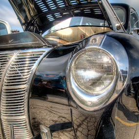 Classic Black Car by David Shayani - Transportation Automobiles ( headlamp, front grill, reflection, hdr, grill, front light, black car, headlight, high dynamic range, shiny car, head lamp, sky, classic car, car show, hood, shiny )