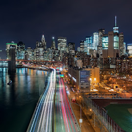 Downtown by Jim Hamel - City,  Street & Park  Night ( skyline, light trails, night, manhattan, new york )