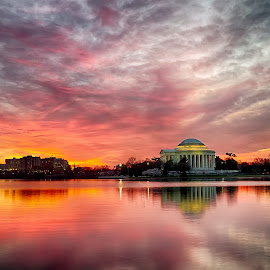 Sunrise over Jefferson Memorial by Kevin Miller - Buildings & Architecture Public & Historical ( history, water, dc, washington, reflection, america, jefferson memorial, sunrise, usa )
