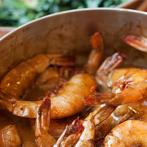 Barbecued Shrimp with Sautéed Greens