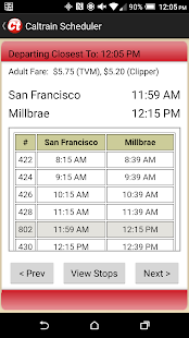 Caltrain Scheduler - screenshot