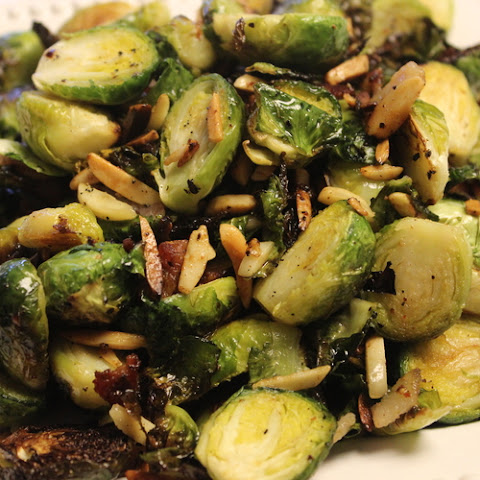 Roasted Brussels Sprouts with Bacon, Dried Cranberries and Slivered Almonds