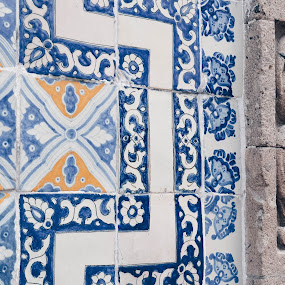 AZULEJO by Valentina Cantera - Artistic Objects Other Objects ( mexico, blue, azulejo, tile, antique, handmade, wall, colors )