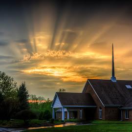 Spiritual Sunset by Tim Kocher - Landscapes Sunsets & Sunrises ( sunburst, riverview photography, church, sunsets, landscape, tim kocher )