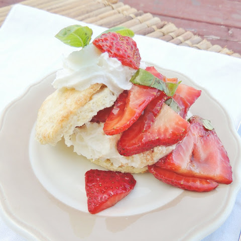 Strawberry Basil Sour Cream Shortcakes