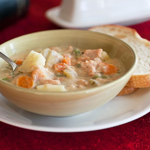 Lighter Salmon Potato Chowder