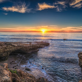 Sunset at Sunset Cliffs by Wenjie Qiao - Landscapes Sunsets & Sunrises ( water, sunset cliffs, san diego, california, sunset, ocean, seascape )