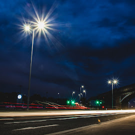 Riverside Drive by Richard Brown - City,  Street & Park  Night ( lights, scotland, light painting, dundee, night photography, street, night, street lights, street photography )