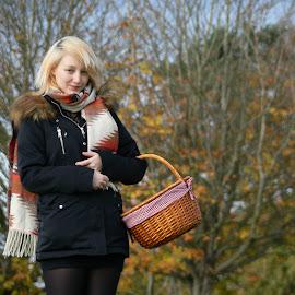 Picnic by Ellie Wilkinson - People Portraits of Women ( warm, winter, autumn, woman, picnic )