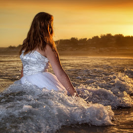 Trashed  by Brandon Mentoor - Wedding Bride ( sunset wedding bride beach )