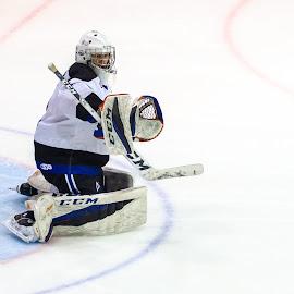 Oufff! by Yves Sansoucy - Sports & Fitness Ice hockey ( hockey, goalie, goal, gloves, pads, white, puck, stick, ice, net, mask )