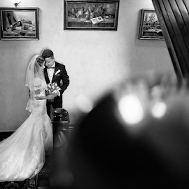 Timeless by Marius Marcoci - Wedding Bride & Groom ( stairs, wedding, bride and groom, old building, together )
