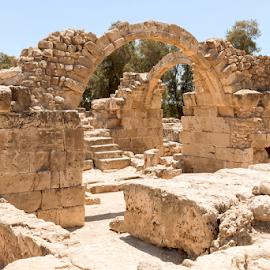 Saranda Kolones Fort, Paphos by Jackie Matthews - Buildings & Architecture Public & Historical ( ancient, paphos, arches, castle, fort, world heritage site, cyprus )
