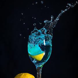 Water and Lemon Splash by Rene Timbang - Artistic Objects Glass ( #water #lemon #watersplash #artwork #wineglass #canonshot )