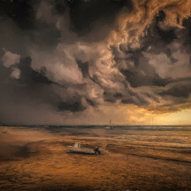 Approaching Storm by Garry Dosa - Digital Art Places ( storm, dusk, impressionistic, boats, clouds, brown, water, sand, ocean, outdoors, beach, sunset, autumn )