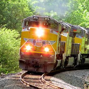 White Light by Rick Covert - Transportation Trains ( springtime, railroad, locomotive, arkansas, railroad tracks, trains, lights )
