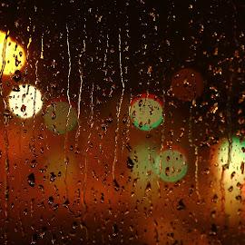 Rainy evening by Clarissa Human - Abstract Water Drops & Splashes ( night lights, night, raindrops, rainy weather, bokeh, rain, droplets )