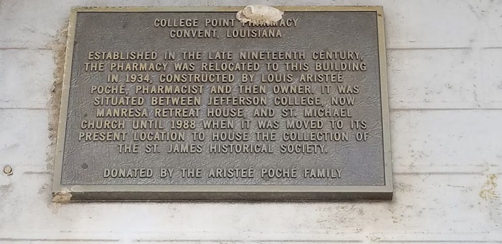 College Point Pharmacy Convent, Louisiana Established in the late nineteenth century, the pharmacy was relocated to this building in 1934, constructed by Louis Aristeé Poché Pharmacist and then ...