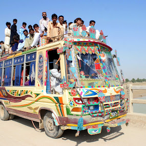 Artistic Bus, Pakistan by FARAZ AHMED RAJAR - Transportation Other ( pakistan, bus, sky, blue, artistic, bridge, people )