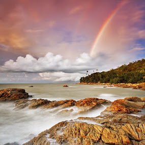 The Promise by Bobby Bong - Landscapes Waterscapes ( slowspeed, indonesia, sunset, sea, rock, singkawang, rainbow )